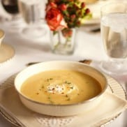 Pear Potato Soup recipe for Downton Abby Kitchen or dinner party at ReluctantEntertainer.com