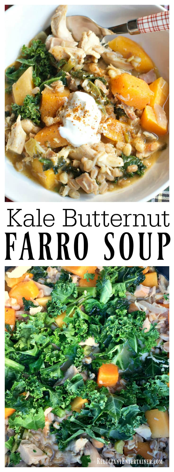 Kale Butternut Farro Soup is delicious with leftover turkey or chicken, the perfect comfort dish to serve to a friend or two
