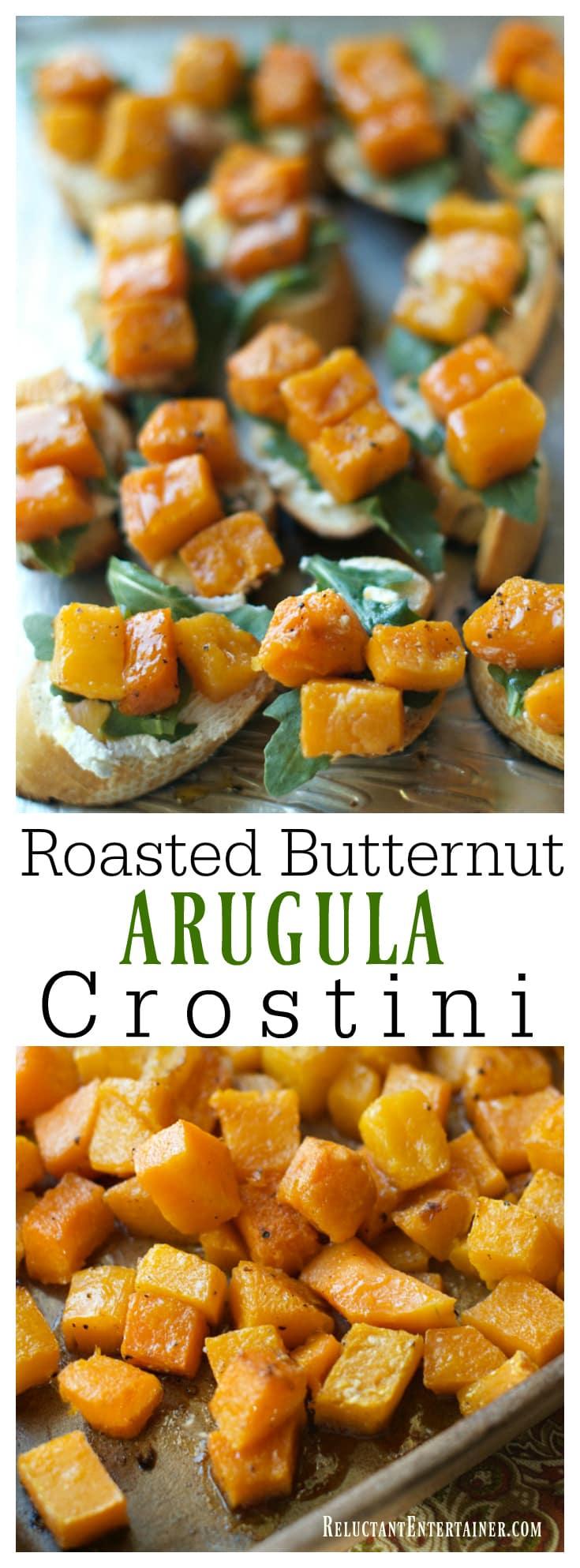 Roasted Butternut Arugula Crostini