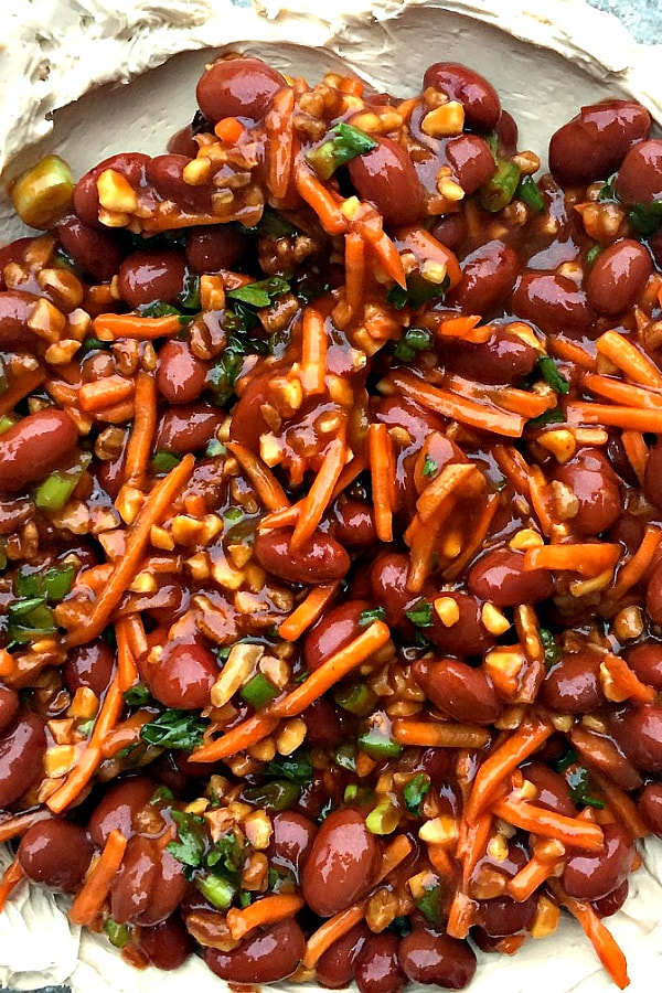 """Asian BBQ Bean Dip, a spin on the party """"taco dip"""""""
