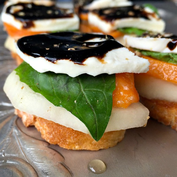 Persimmon Pear Caprese Crostini: Dinner Party Etiquette - Reluctant ...