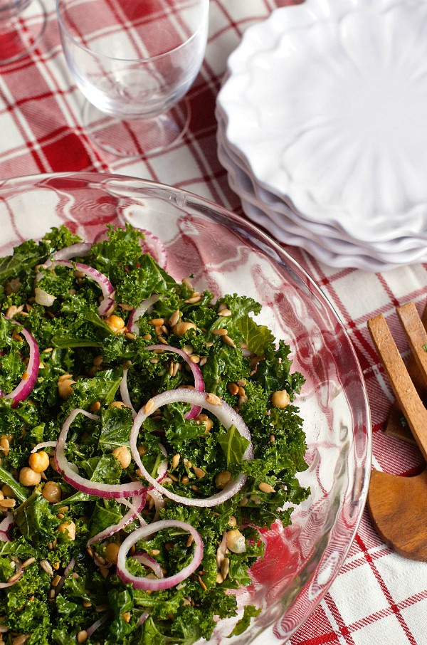 Marinated Kale Salad with garbanzo beans and sunflower seeds