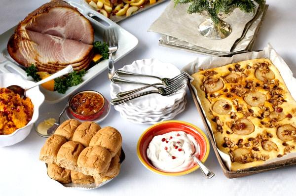 Roasted Pear Grape Kuchen + 5 Holiday Tips with Honey Baked Ham