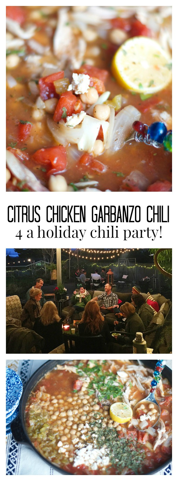 Citrus Chicken Garbanzo Chili for a Holiday Chili Party