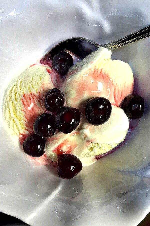 Amarena Toschi Black Cherries Vanilla Ice Cream
