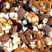 Almond Butter Pretzel Popcorn Snack