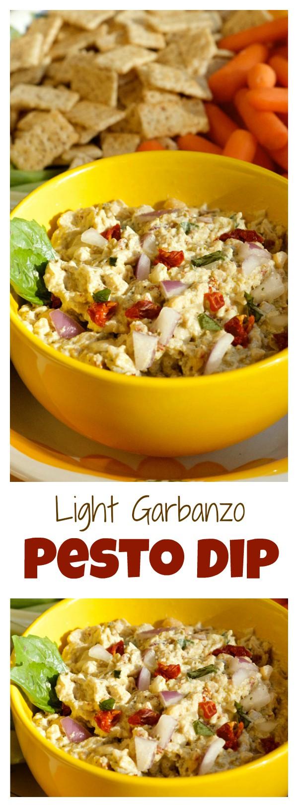 Light Garbanzo Pesto Dip