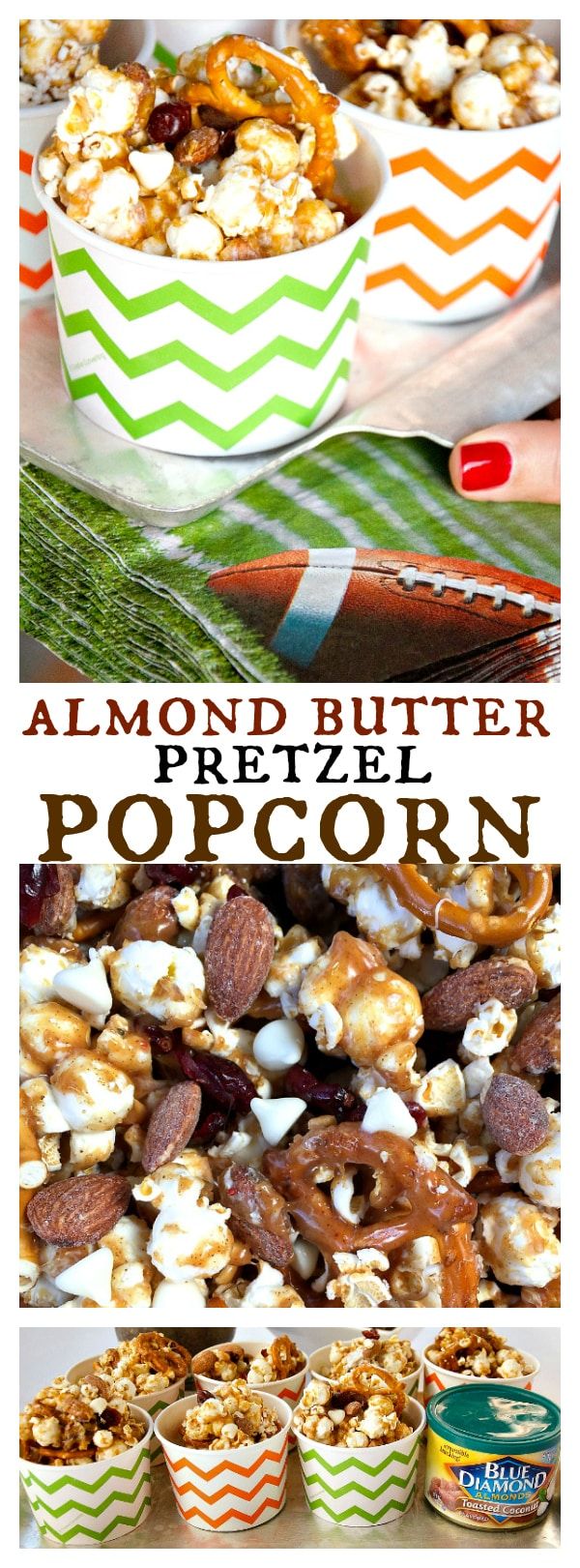 Almond Butter Pretzel Popcorn Snack Cups for Game Day