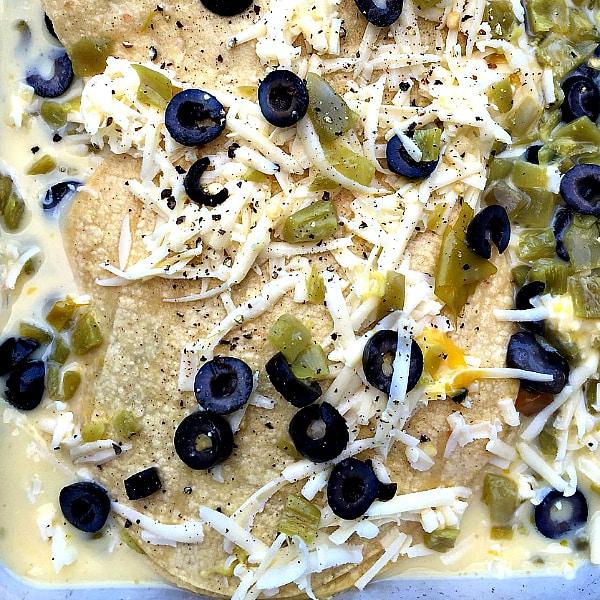 Instead of bread, use corn tortillas: Green Chili Corn Tortilla Strata