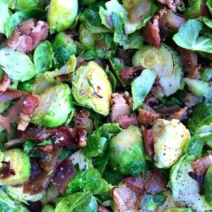Caramelized Shallot Bacon Brussels Sprouts
