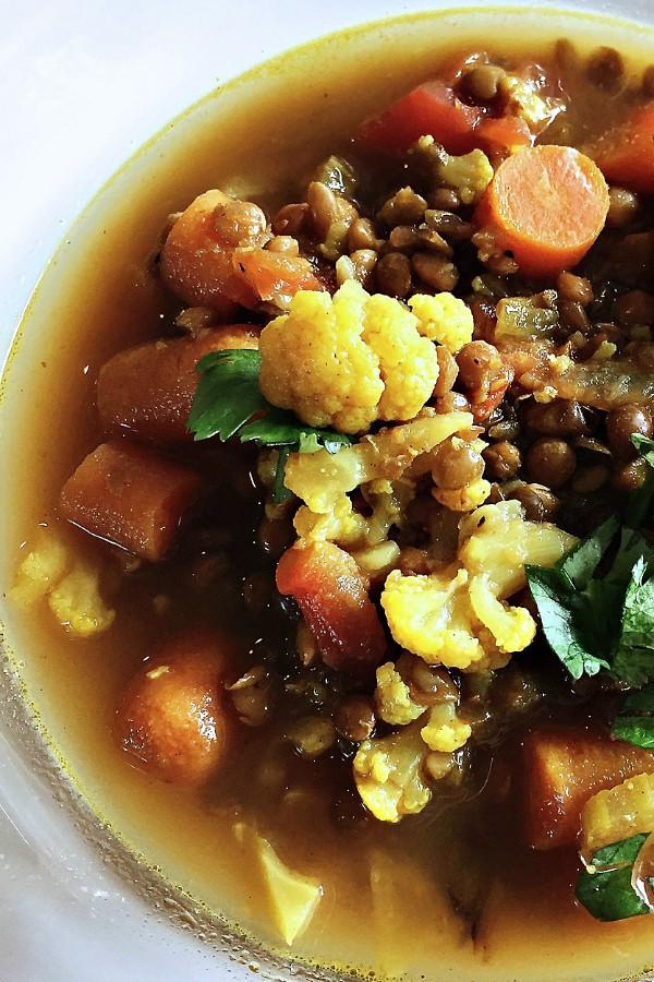 Moroccan Lentil Cauliflower Soup