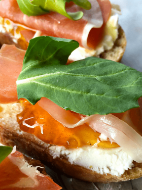 Prosciutto Goat Cheese Crostini - easy appetizer with marmalade jam!