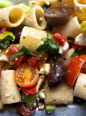 Greek Pasta Salad for a potluck or summer party!