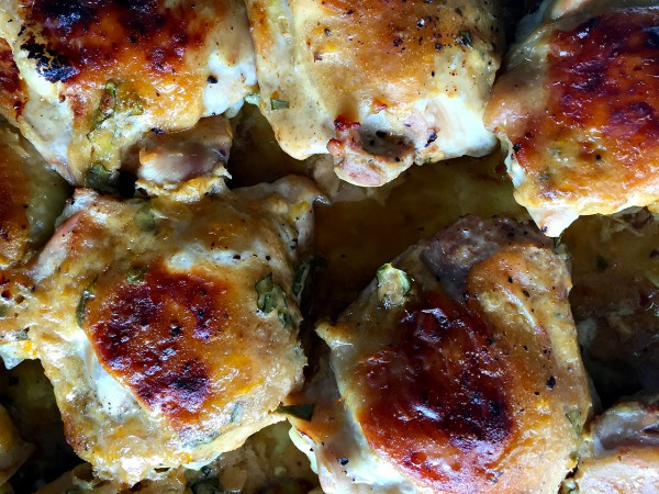Apricot Greek Yogurt Chicken Thighs