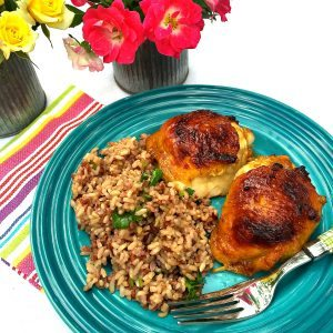 Lime Cilantro Rice is delicious served with Apricot-Glazed Chicken Thighs for a lovely summer dinner or picnic or potluck dish.