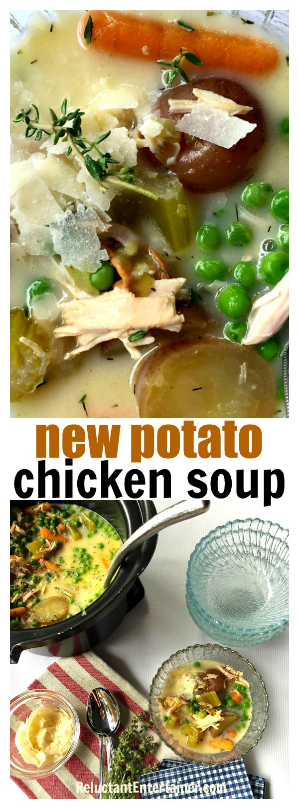 New Potato Chicken Soup--easy crock pot version of new potatoes and peas, made with Rotisserie chicken, herbs, and fresh veggies!