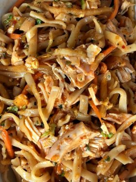 Enjoy this delicious, spicy Easy Pad Thai Salad for a summer night's meal, made with fresh ingredients and rotisserie chicken.