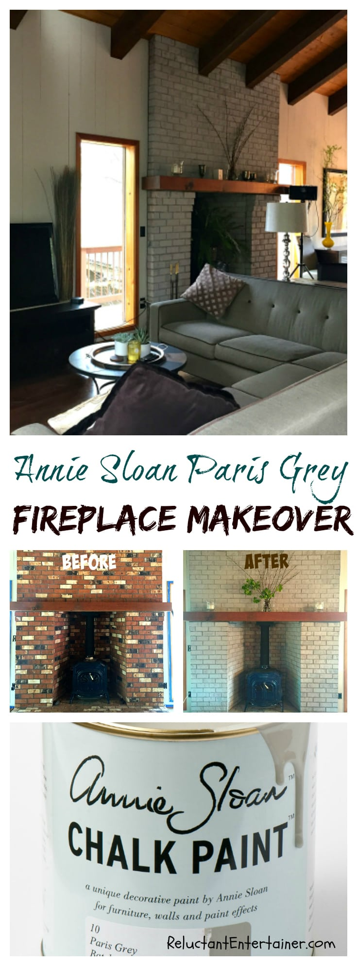 Annie Sloan Paris Grey Fireplace Makeover at ReluctantEntertainer.com