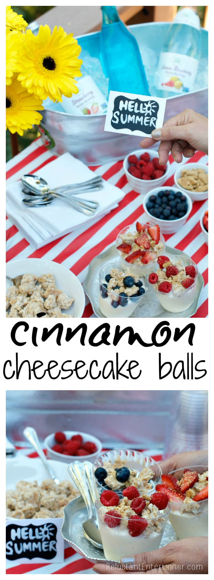 Cinnamon Cheesecake Balls for Fourth of July entertaining | ReluctantEntertainer.com
