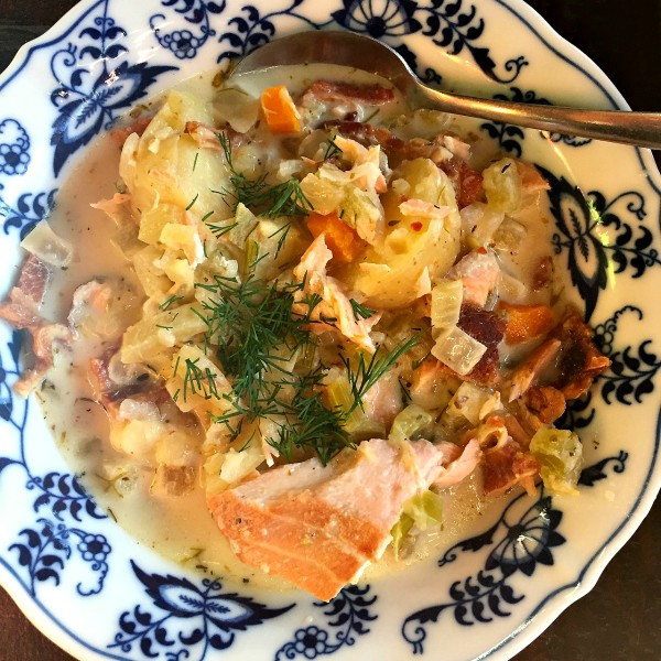 Salmon Chowder at ReluctantEntertainer.com