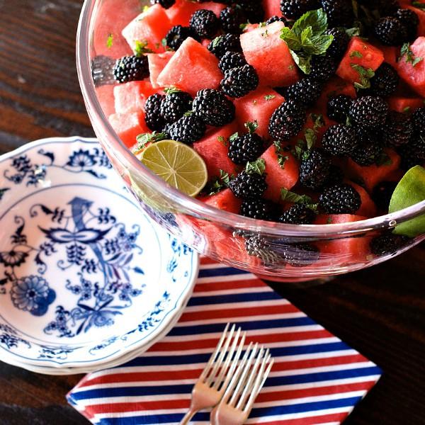 Watermelon Blackberry Lime Salad