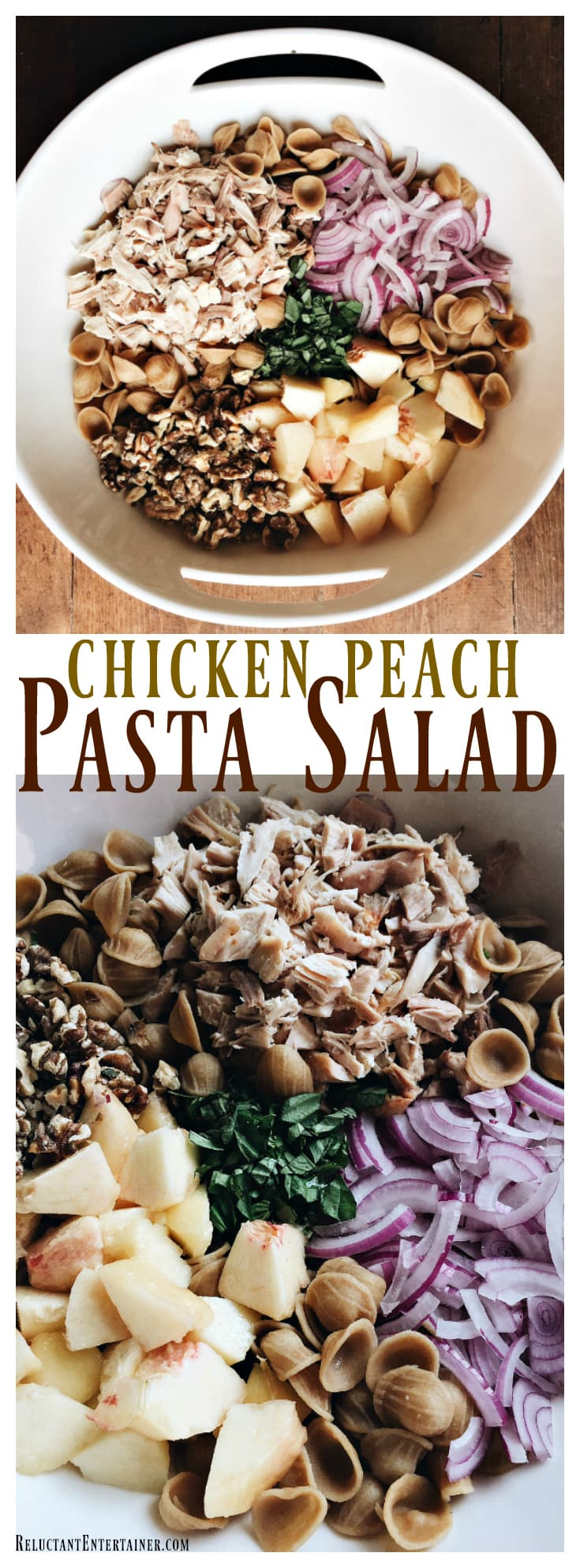 Chicken Peach Pasta Salad for summer entertaining | ReluctantEntertainer.com