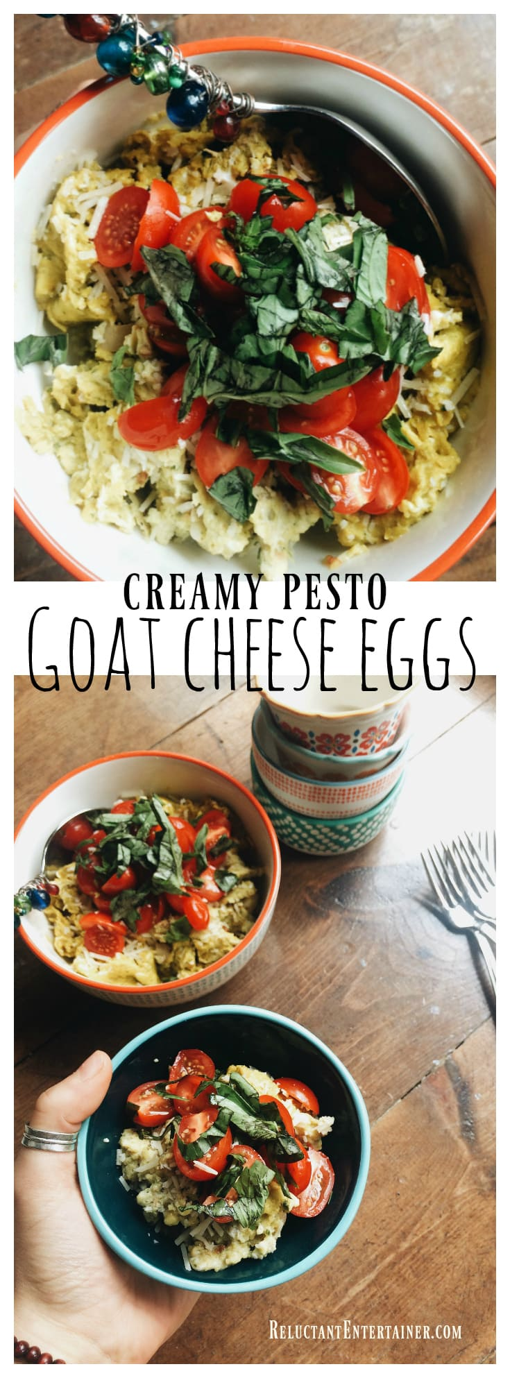 Creamy Pesto Goat Cheese Eggs are a delicious dish to serve with fresh tomatoes and basil, perfect for a weekend breakfast or brunch!