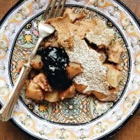 Super easy breakfast or dinner, baked into a delicious Puffed Peach Bake Pancake, served with syrup, applesauce, jelly or jam.