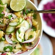 Pickled Mango Cucumber Salad is a fresh summer salad, delicious served as a side salad, or with Thai food, or spring rolls