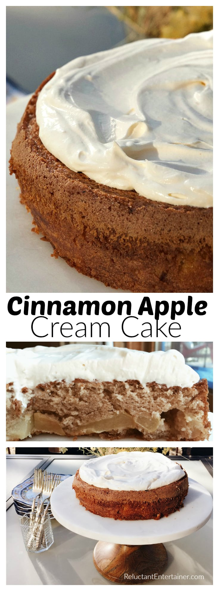 Cinnamon Apple Cream Cake, with whipped cream on top, is the perfect cake to share at a fall dinner party, or a slice with your neighbors!