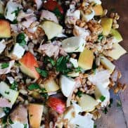 Farro Apple Mozzarella Salad is a healthy recipe made with grains, fruit, and cheese--perfect for lunch or a side dinner salad