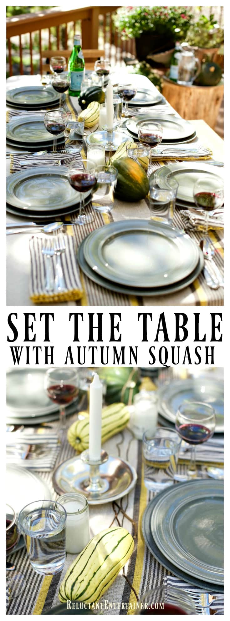Set the table with Autumn Squash and Walnut-Crusted Goat Cheese with Thyme Honey