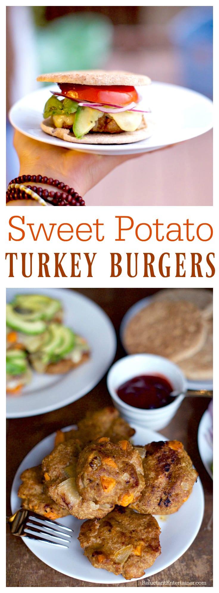 Sweet Potato Turkey Burgers at ReluctantEntertainer.com
