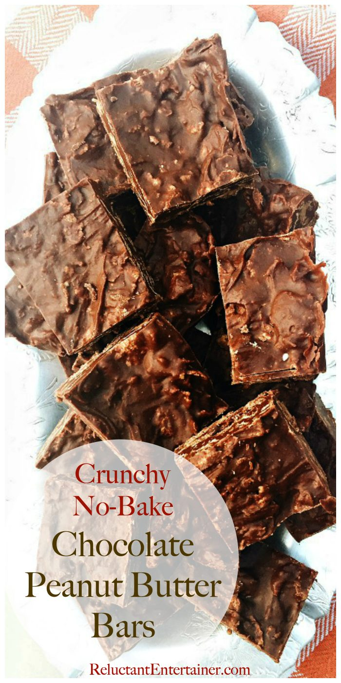Crunchy No-Bake Chocolate Peanut Butter Bars