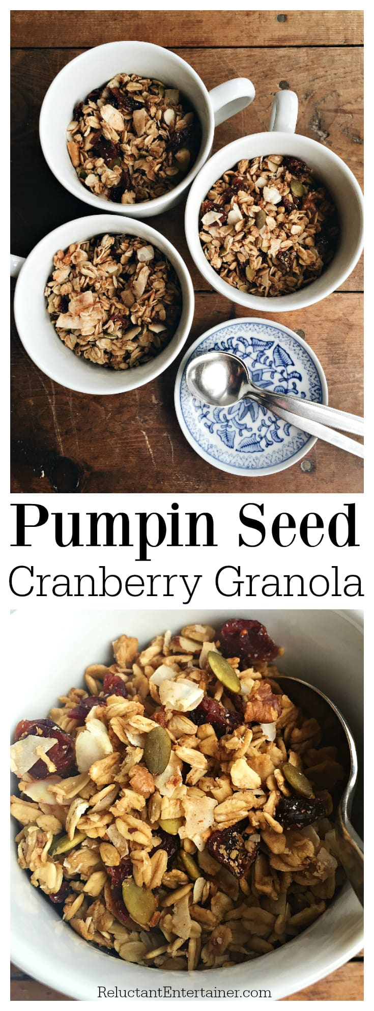 Pumpkin Seed Cranberry Granola from ReluctantEntertainer.com