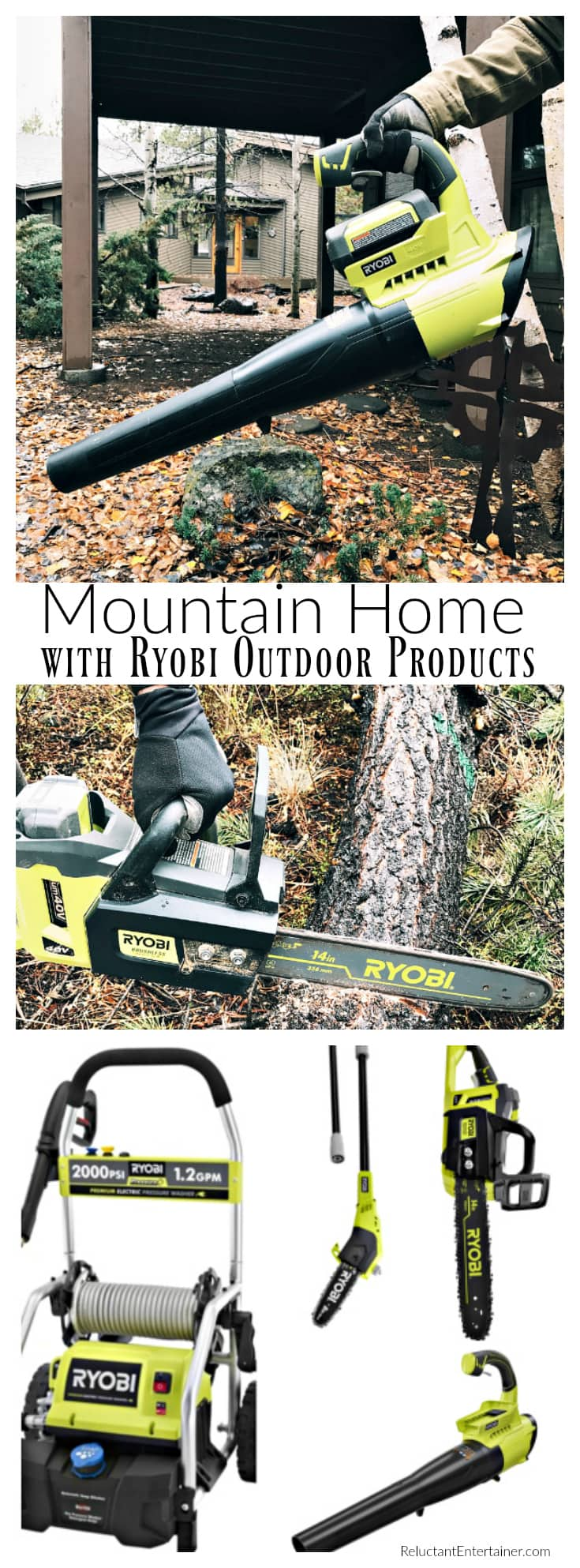 Mountain Home with RYOBI Outdoor Products at ReluctantEntertainer.com