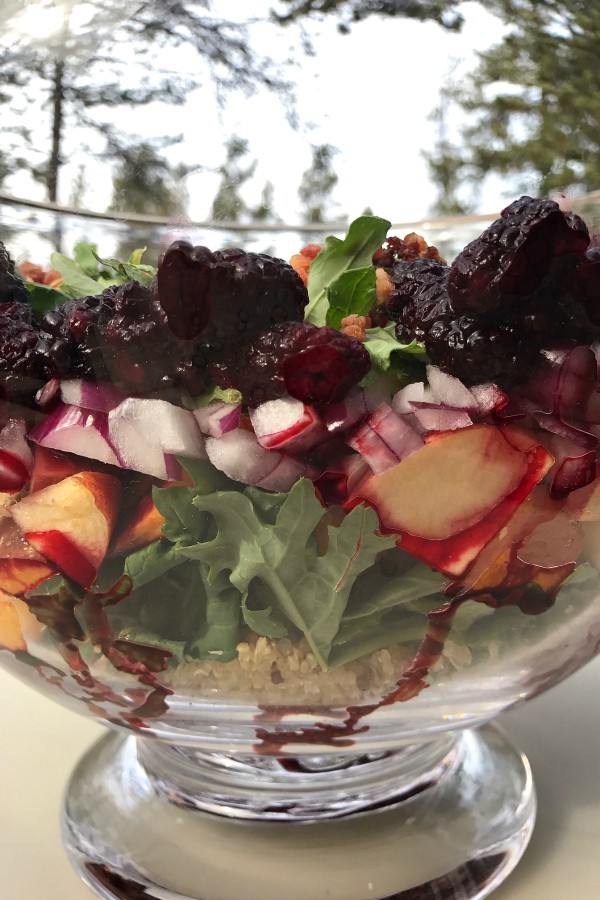 Layered Holiday Kale Berry Salad   ReluctantEntertainer.com