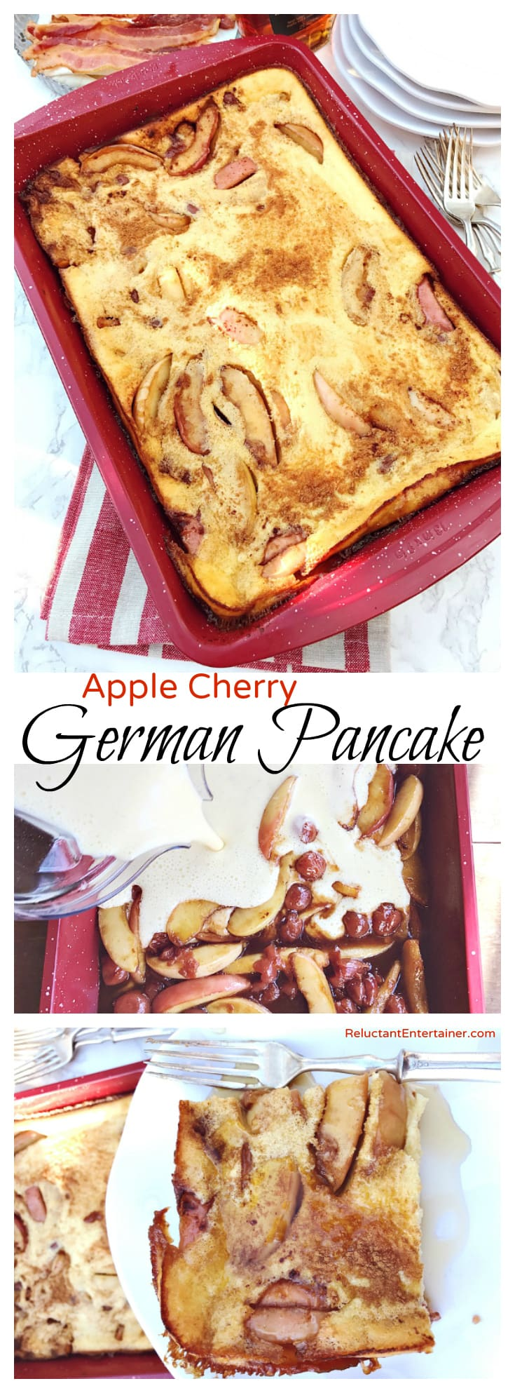 Apple Cherry German Pancake Recipe at ReluctantEntertainer.com