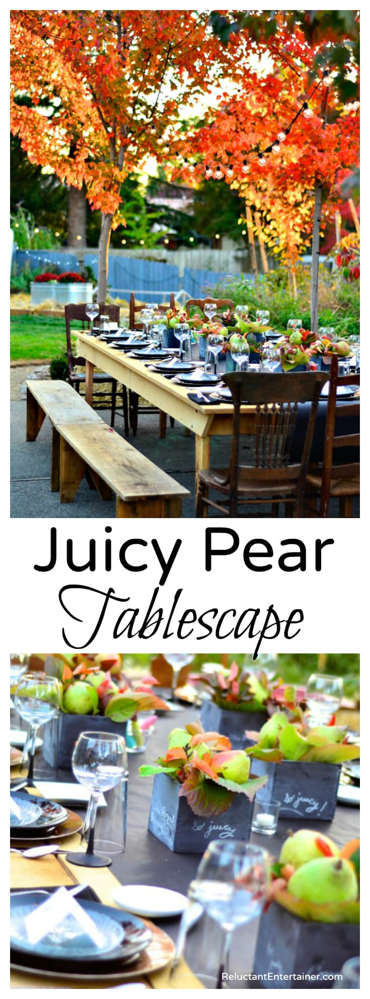 Juicy Pear Tablescape + Bacon Pear Cobb Salad Recipe