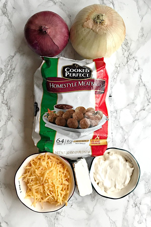 Hot Caramelized Onion Meatball Dip