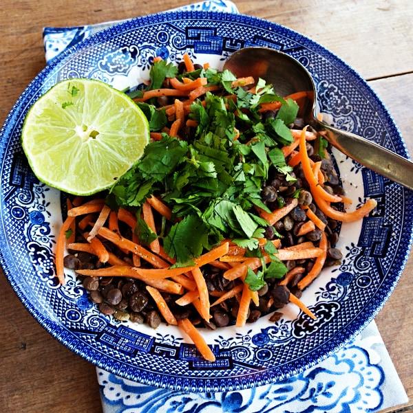 Carrot Lentil Cilantro Salad with Lime Recipe