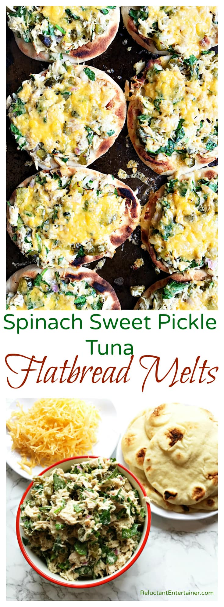 Spinach Sweet Pickle Tuna Flatbread Melts
