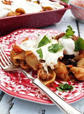Mexican Ground Turkey Olive Pasta Bake