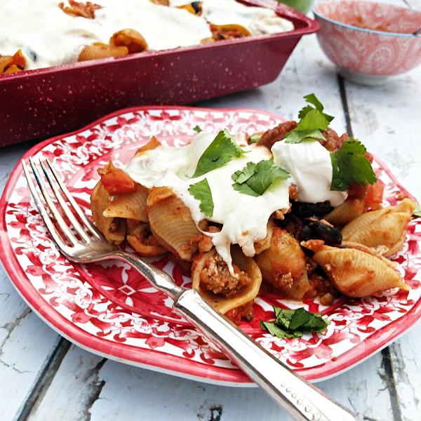 Mexican Ground Turkey Olive Pasta Bake