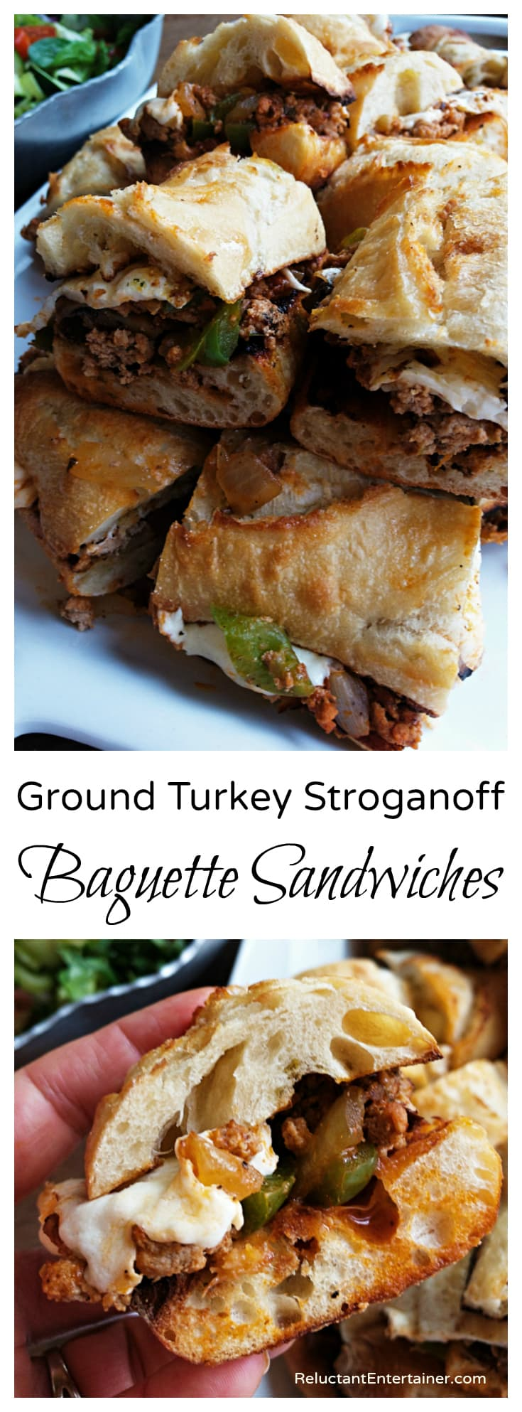 Ground turkey stroganoff baguette sandwiches reluctant entertainer