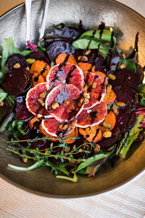 Roasted Beet and Yam Salad With Balsamic Glaze and Blood Orange