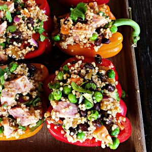 Ham Quinoa-Stuffed Peppers with Peas