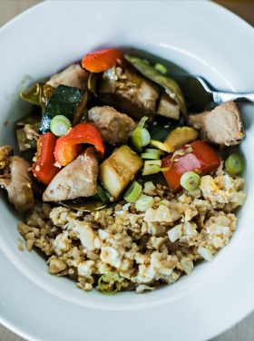 Honey Ginger Chicken Cauliflower Stir Fry