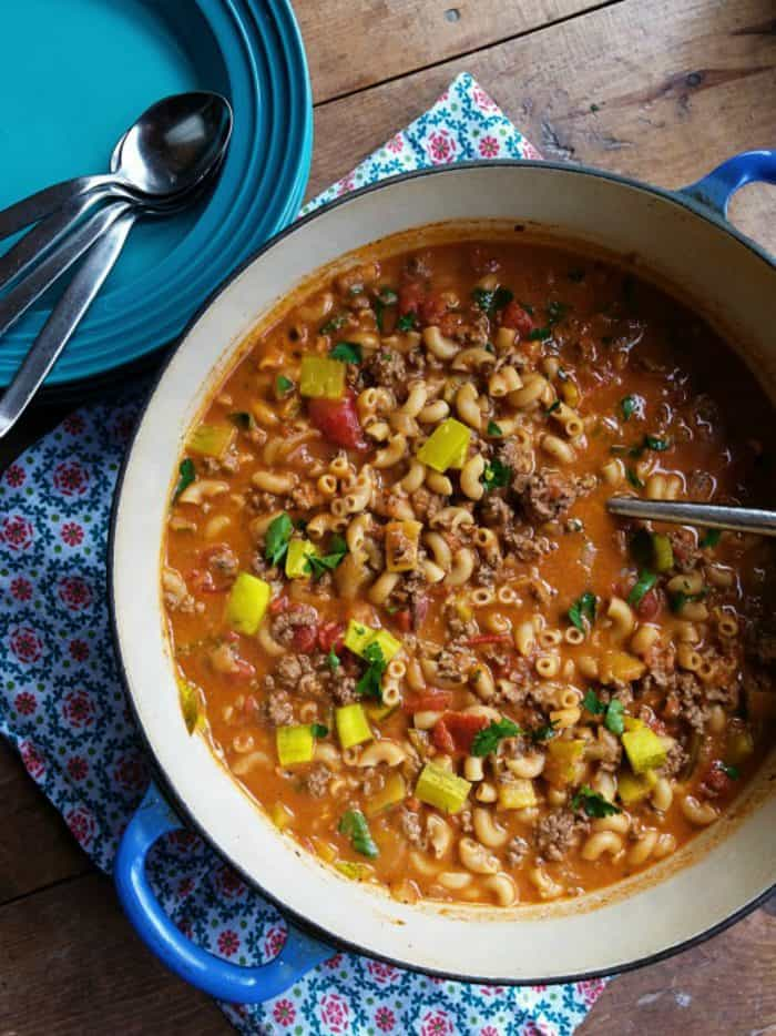 BEST Cheeseburger Dill Pickle Soup Recipe