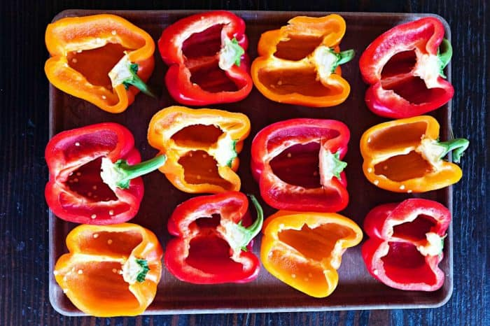 Ham Quinoa-Stuffed Peppers with Peas - bell peppers